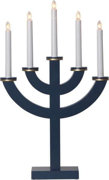 """Kerzenleuchter """"Toarp"""" - 5 Arme - warmweiße Glühlampen - H: 53cm, L: 33cm  - Schalter - Blau/Gold"""