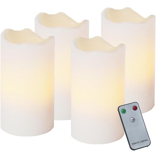 LED-Kerze | Echtwachs | Advent | flackernde LED | Fernbedienung | 4er Set | Weiß
