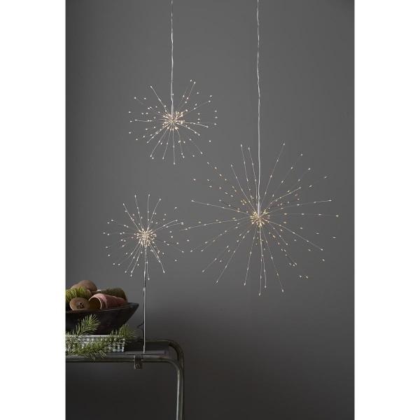 "3D LED Hängestern ""Firework"" -120 warmweiße LED - silber - D: 26cm - Material: Metall"