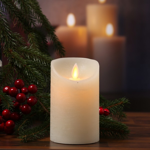 LED Kerze M-Twinkle - Echtwachs - bewegliche Flamme - Auspustfunktion - Timer - H: 12,5cm - creme