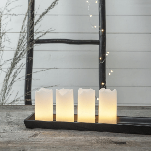 LED-Kerze   Echtwachs   Advent   flackernde LED   Fernbedienung   4er Set   Weiß
