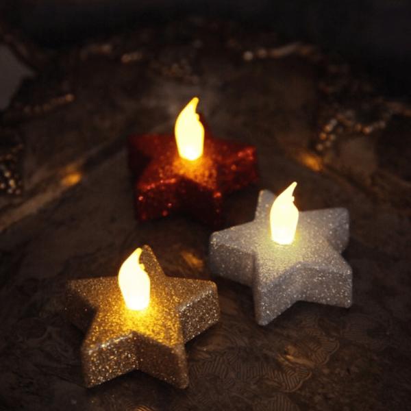 LED Teelichter in Sternform - flackernde LED - H: 5cm, D: 6cm - rot glitzernd - 2er Set