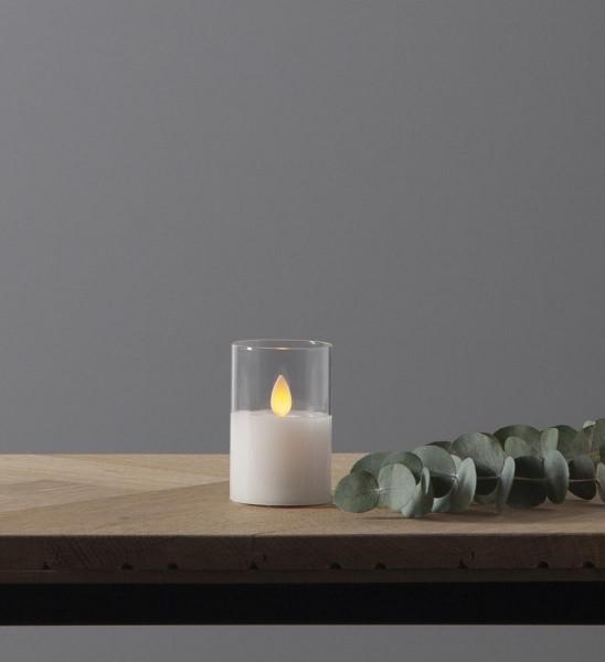 """LED Windlicht """"Twinkle"""" - Echtwachs - bewegte, gelbe Flamme - Timer - H: 7,5cm, D: 5cm - weiß"""
