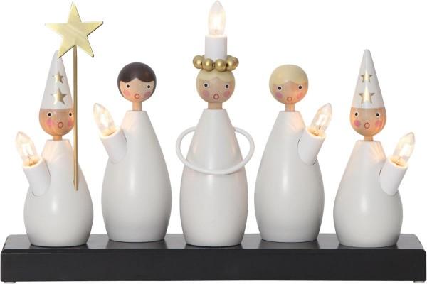 """Fensterleuchter """"Lucia Chor"""" - 5flammig - warmweiße Glühlampen - H: 22cm, L. 33cm - Weiß"""