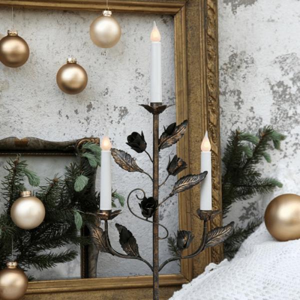 "Kerzenleuchter ""Rosetta"" - 3 Kerzen - gold-bronze"
