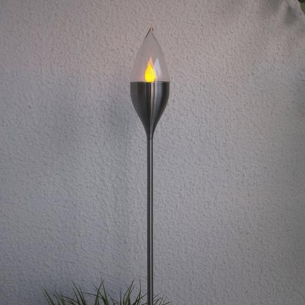 "LED Solar Fackel ""Olympos"" - Edelstahlspieß - gelbe LED - H: 115cm - Dämmerungssensor - silber"