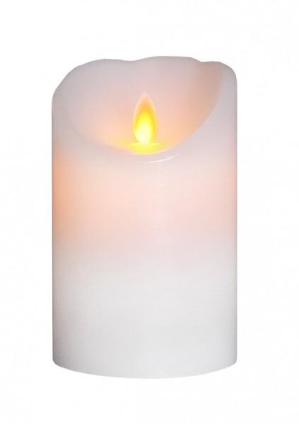 """LED Kerze """"Glim"""" - Echtwachs - mechanische Flamme - Timer - H: 13cm, D: 8cm - weiß"""