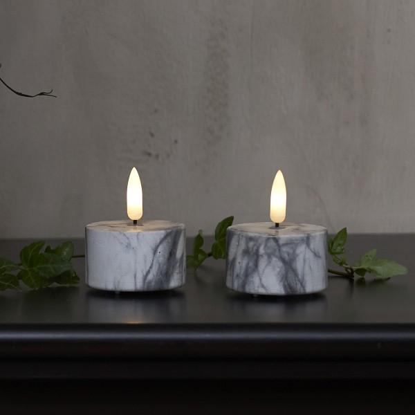 """LED Teelicht """"Flamme"""" - Marmoroptik - Echtwachs - realistische Flamme - Timer - H:6cm - 2er Set"""