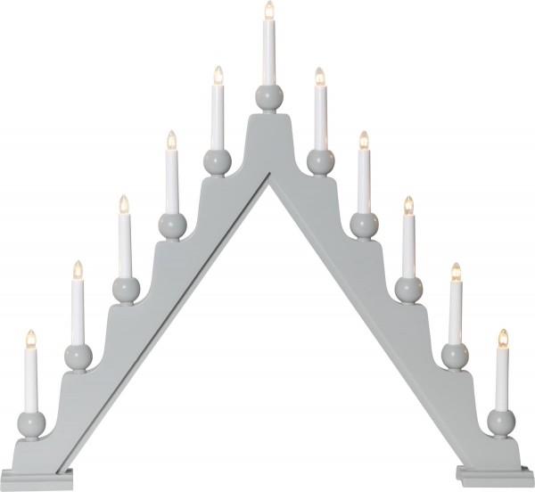 Fensterleuchter STELLAN - 11 warmweiße Glühlampen - L: 75cm, H: 69cm - Schalter - Grau
