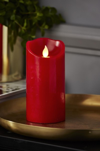 "LED Stumpenkerze ""TWINKLE"" - bewegte, warmweiße LED Flamme - H: 15cm, D: 7,5cm - Timer - rot"