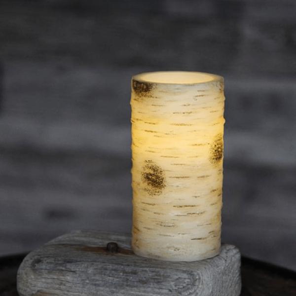 LED-Kerze   Echtwachs   Birken-Design   flackernde LED   Timer   Weiß   →7,5cm   ↑15cm
