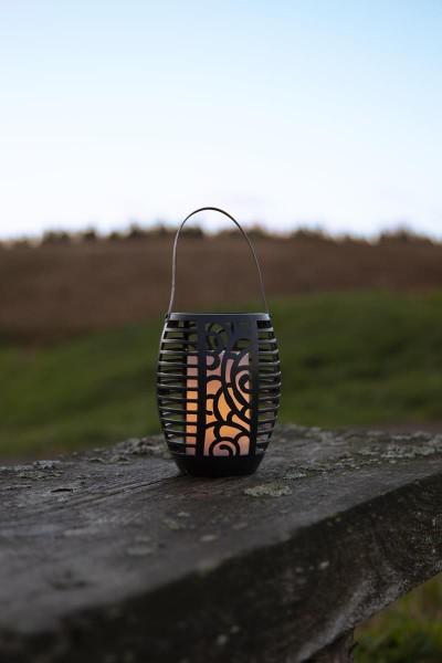 "LED-Solar-Fackel ""WIND"" - Laterne/Windlicht/Fackel - gelbe LED - H: 75cm - D: 9,5cm - Dämmerungssensor"