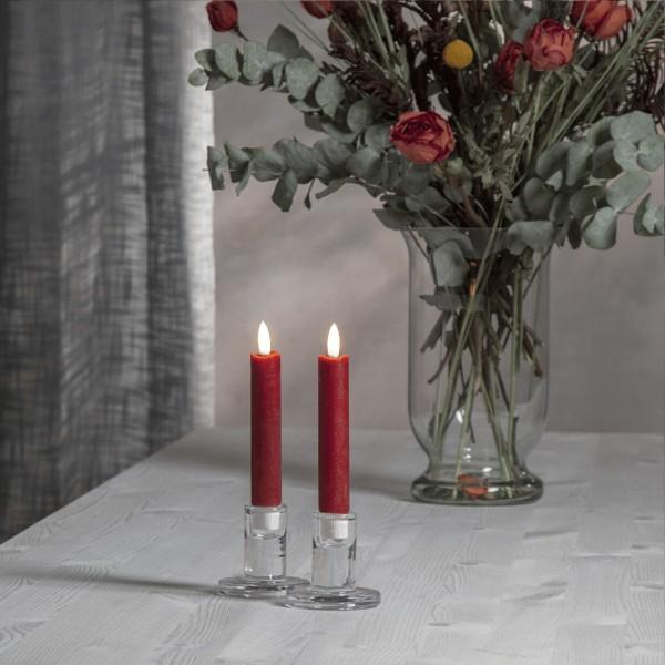 "LED Stabkerze ""Flamme"" - Echtwachs - warmweiße LED - H: 15cm - Timer - rot - 2er Set"
