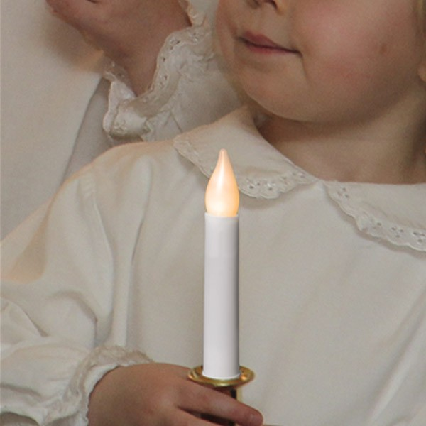 """LED-Stabkerze """"Santa Lucia"""" - mit Griff - statische warmweiße LED - H: 17cm - Batterie - weiß/gold"""