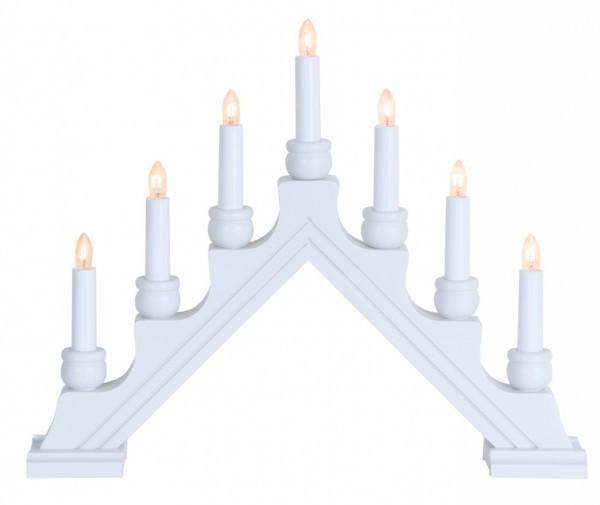 Fensterleuchter KARIN - 7 warmweiße Glühlampen - L: 42cm, H: 34cm - Schalter - Weiß