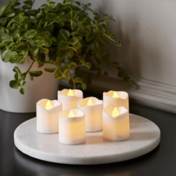 """LED Kerzenset """"Packy"""" - 6 weiße Stumpenkerzen - D: 3,7cm - H: 4,5cm - Batteriebetrieb"""