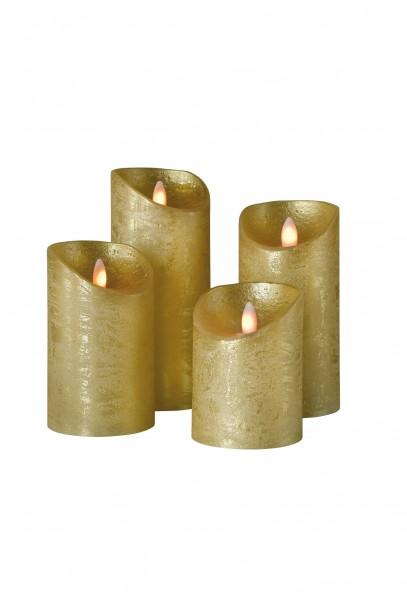 LED Wachskerze SHINE 4er Set | gold | gefrostet | fernbedienbar | Timer