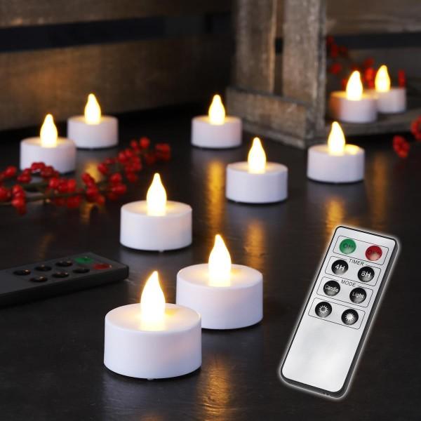 LED Teelichter - warmweiße flackernde Flamme - Timer - Inkl. Fernbedienung - 8 Funktionen - 10er Set