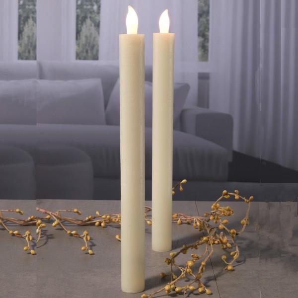 LED Stabkerzen - Echtwachs - warmweiße flackernde LED - H: 25cm - Elfenbein farbig - 2er Set