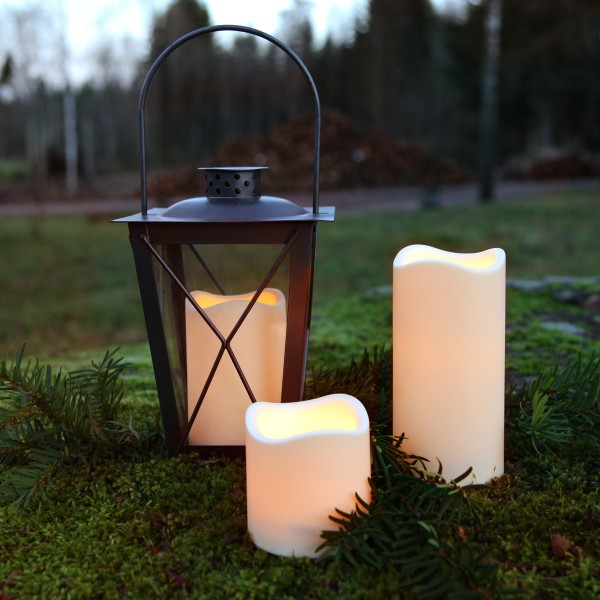 "LED Stumpenkerze ""Paul"" - flackernde LED - H: 7,5cm - Batteriebetrieb - Timer - outdoor - creme"