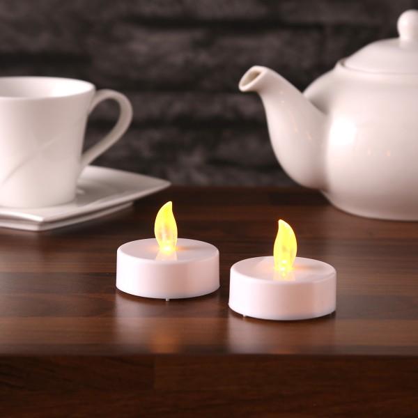 LED Teelicht JUMBO - gelb flackernde LED - Kunststoff - H: 2cm, D: 5cm - weiß - 2er Set