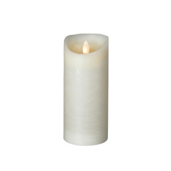 LED Wachskerze SHINE | elfenbein | gefrostet | D: 7,5cm H: 17,5cm | fernbedienbar | Timer