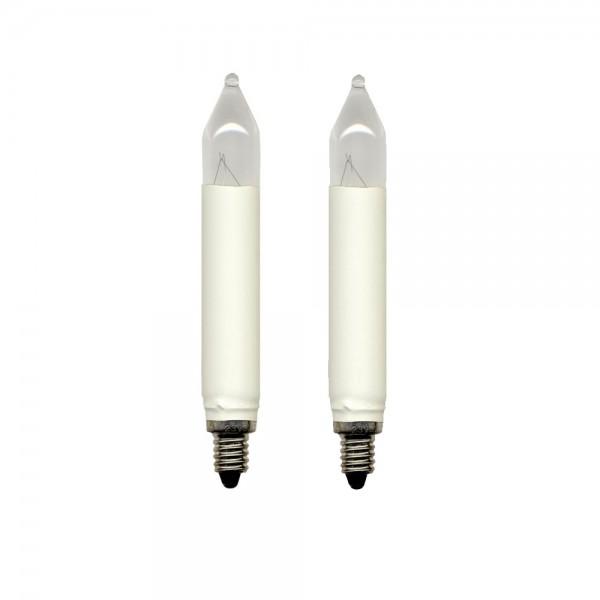 Schaft-Leuchtmittel | Ersatz für 30er Schaft-Kerzenkette | E10 | 8V | 3W | Warmweiß | 2er Set