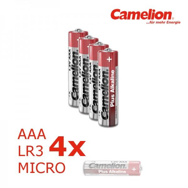 Batterie Micro AAA LR3 1,5V PLUS Alkaline - Leistung auf Dauer - 4 Stück - CAMELION