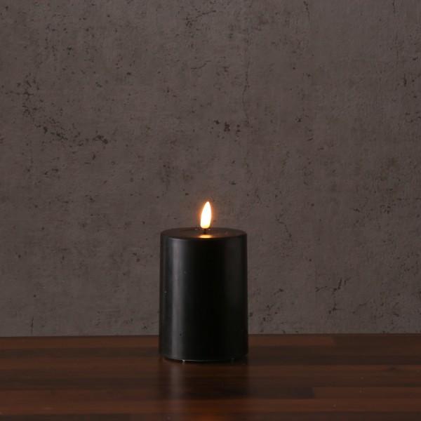 LED Stumpenkerze MIA - Echtwachs - realistische 3D Flamme - H: 10cm - Batteriebetrieb - schwarz