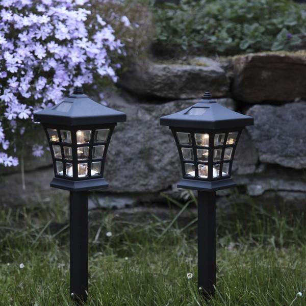 """LED Solar Laternenspieß """"Nippon"""" - warmweiße LED  H: 33cm - Dämmerungssensor - schwarz - 2er Set"""