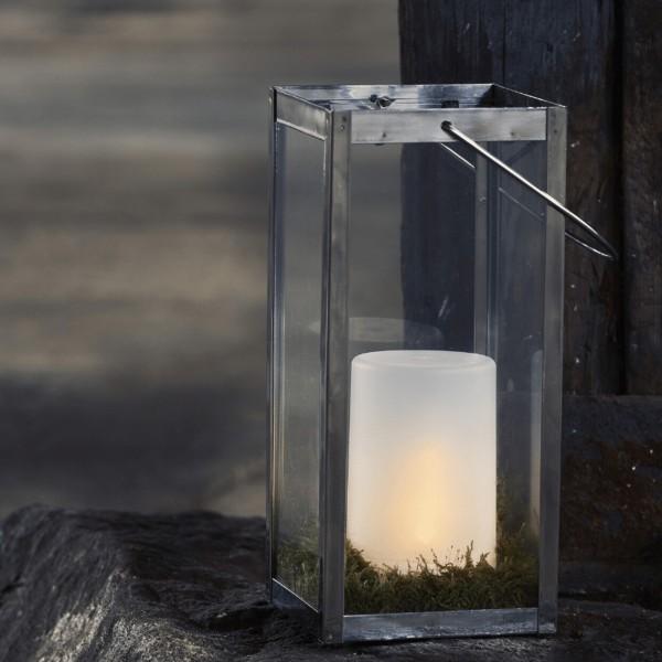 "LED Windlicht ""Flame"" - simuliert brennende Flamme - H: 14,5cm, D: 9cm - Timer - gefrostet - outdoor"