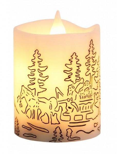 LED-Kerze | Echtwachs | Yule | Schlittenfahrt| flackernde LED | →8cm | ↑10cm