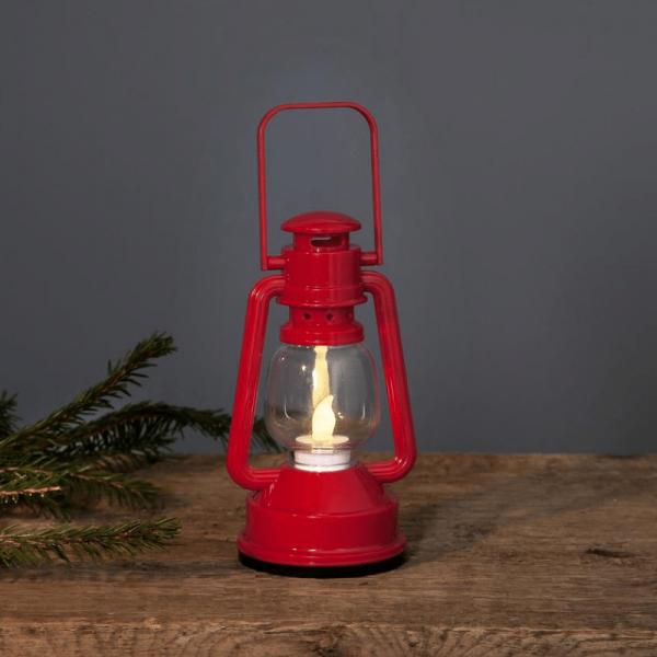 LED Laterne NICO - warmweiße LED - Schalter - Batteriebetrieb - H:15cm, D: 8,5cm - rot