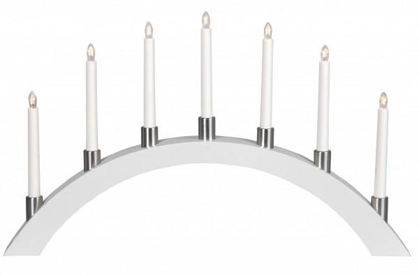 Lichterbogen TALL  - 7 warmweiße Glühlampen - L: 67cm, H: 40cm - Holz - Schalter - Weiß