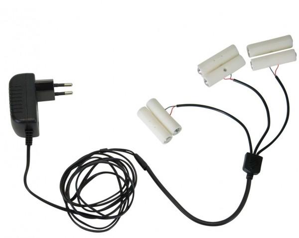 Stromadapter für Batterieartikel (2xAA) - Batterie Eliminator - Ersetzt 3 x 2 Mignonbatterien