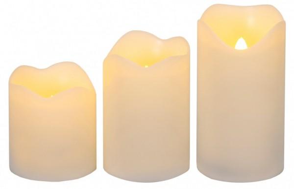 LED-Kerze | Wave | flackernde LED | 3er Set