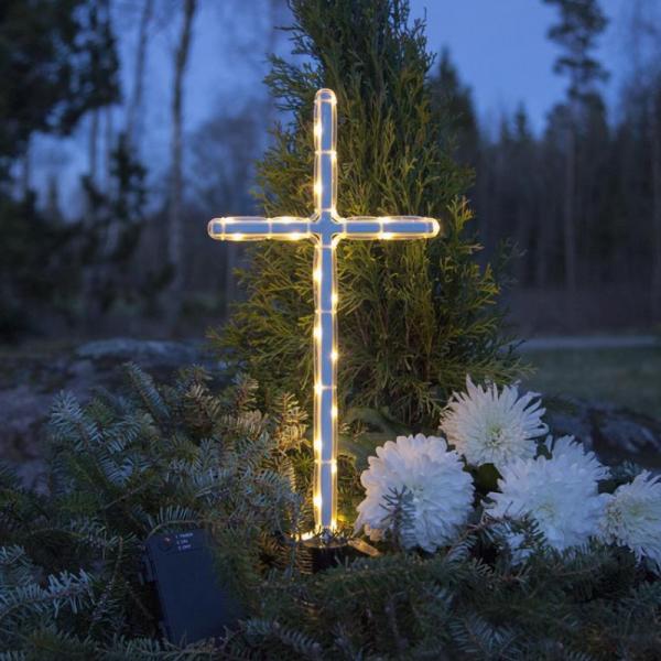 LED Grabkreuz 41cm - weißes Kreuz - 24 warmweiße LEDs - Batteriebox ca. 1 Monat/Satz - Timer