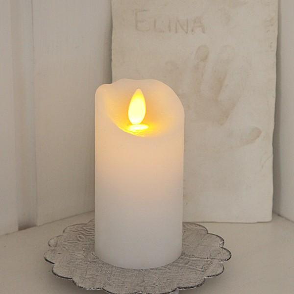 "LED Kerze ""Glow"" - Echtwachs - gelbe flackernde LED - Timer - H: 10cm, D: 5,5cm - weiß"