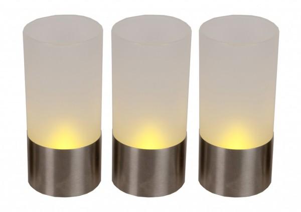 LED-Windlicht | Frost | flackernde LED | →4.5cm | ↑10cm | 3er Set