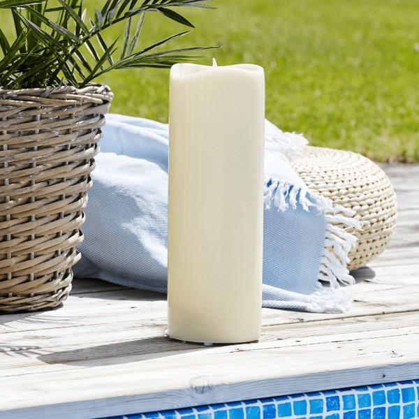 """LED Stumpenkerze """"Grande"""" - Kunststoff - flackernde warmweiße LED - H: 38cm - outdoor - beige"""