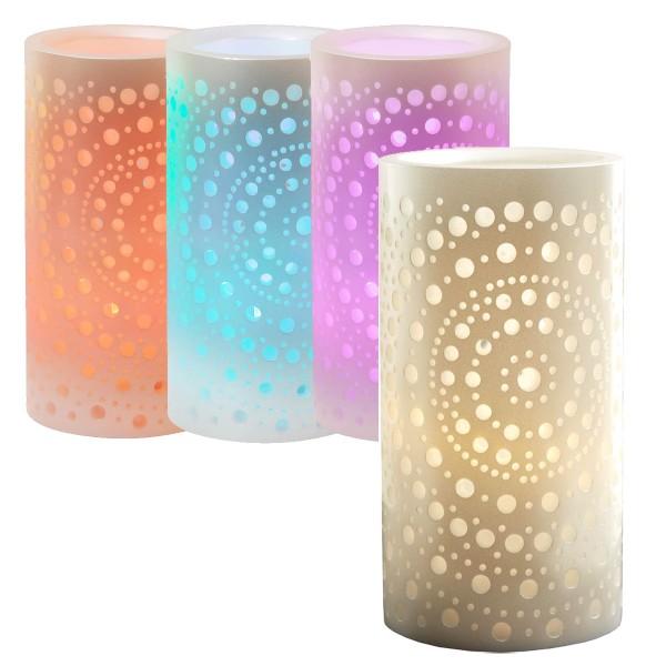 """LED-Wachskerze """"Mandy"""", weiss, Mandaladesign, wahlweise weiß oder Farbwechsel - H: 15cm - D: 8cm - Timer"""