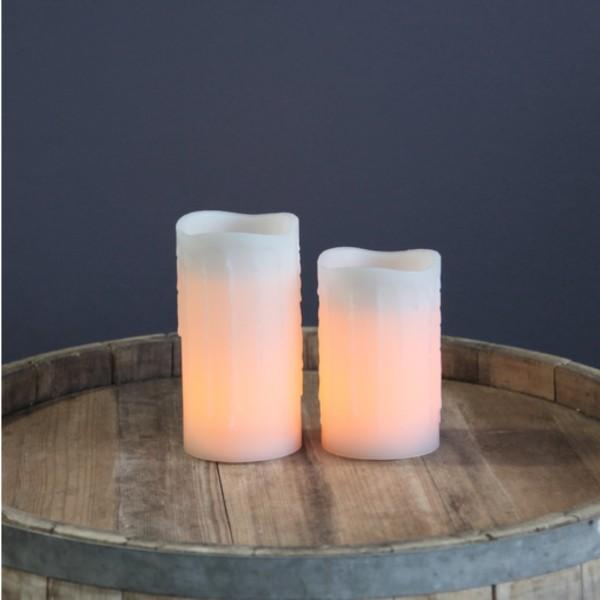 """LED Kerze """"Drip"""" - Echtwachs - flackernde LED - mit Kunstdocht - Timer - H: 15cm - weiß"""