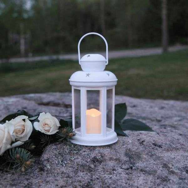 """LED Laterne """"Serene"""" - Kunststoff weiß - gelbe LED - Timer H:25cm D:10cm"""