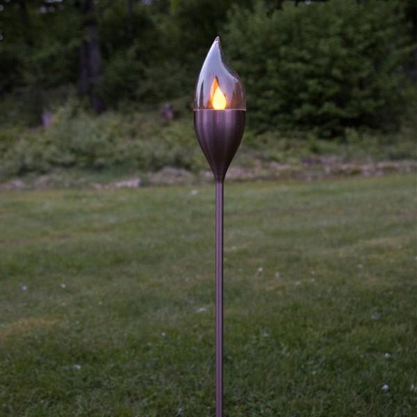 LED Solar Fackel OLYMPOS - Edelstahlspieß - gelbe LED - H: 115cm - Dämmerungssensor - kupfer