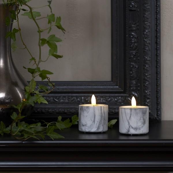 LED Stumpenkerzen Flamme - Marmoroptik - Zement/Wachs - realistische Flamme - Timer - 9cm - 2er Set