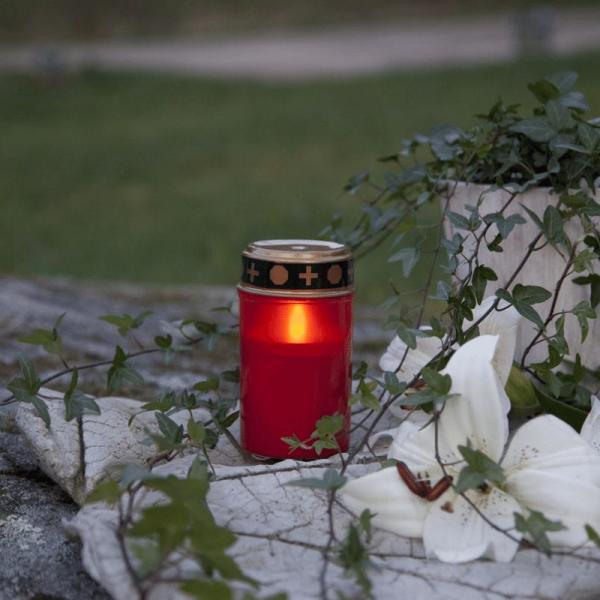 LED Grablicht - rot mit Deckel - LED: gelb - Outdoor - Timer - H:12cm D:7cm