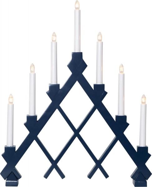 "Fensterleuchter ""Rut"" - 7flammig - 7 warmweiße Glühlampen - L: 43cm, H: 53cm - Holz - Blau"