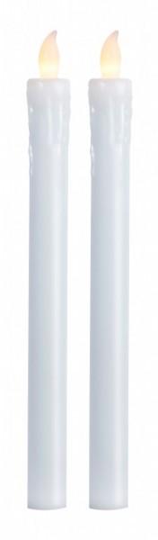 LED-Stabkerze | Echtwachs | Presse-Design | flackernd | Push on/off | ↑25cm | 2er Set | Weiß