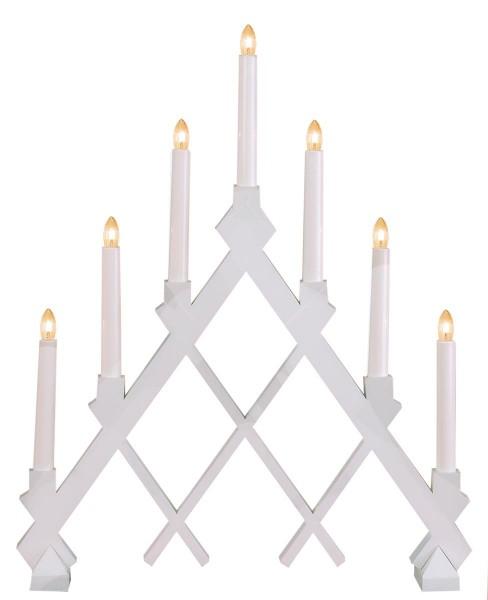 """Fensterleuchter """"Rut"""" - 7flammig - 7 warmweiße Glühlampen - L: 43cm, H: 53cm - Holz - Weiß"""