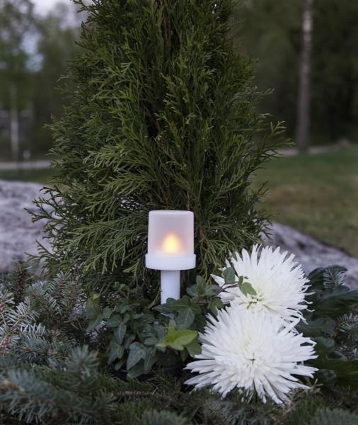 """LED Fackel """"Torch"""", flackernd, Kunststoff weiss - H:13,5cm D:5,5cm - Timer"""
